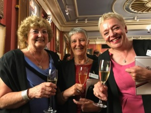 Liverymen Gloria McGregor and Sandra Holt with Freeman Elizabeth Singh